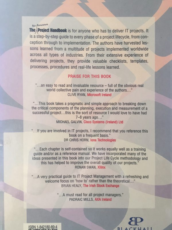 The No-Nonsense Project Handbook back cover and recommendations
